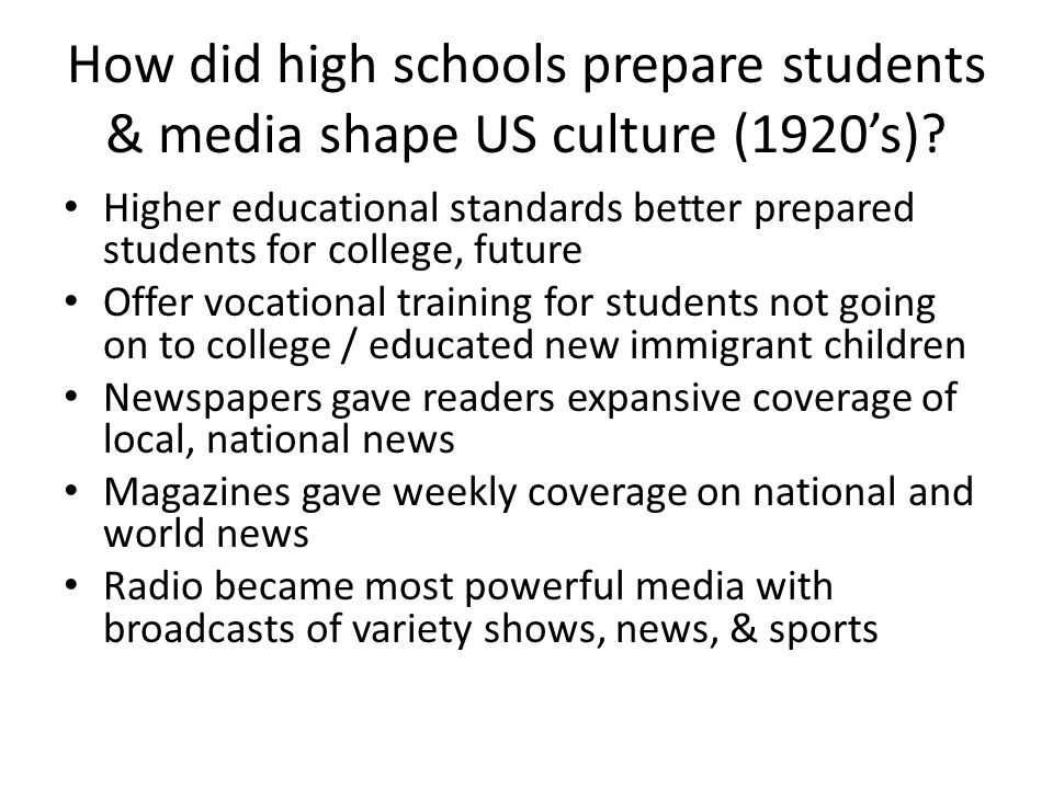 Education And Pop Culture Ch 13 Sec 3 1 High School Prepares