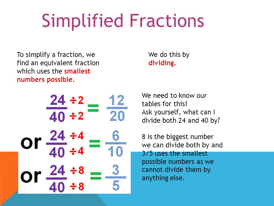 3 Simplified Fractions