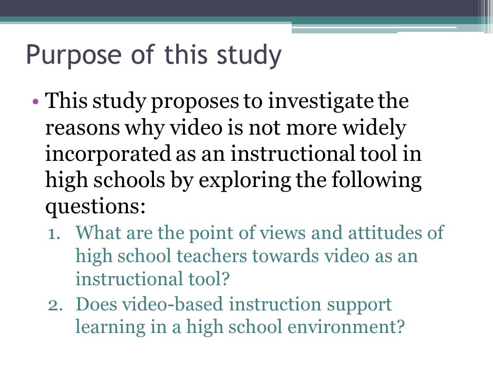 Video Based Instruction In A High School Learning Environment By