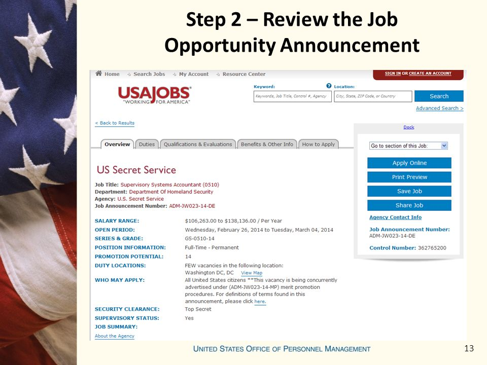 13 Step 2 – Review the Job Opportunity Announcement
