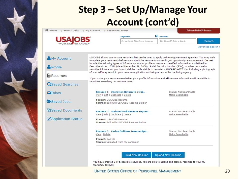 20 Step 3 – Set Up/Manage Your Account (cont'd)