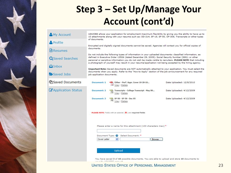 23 Step 3 – Set Up/Manage Your Account (cont'd)