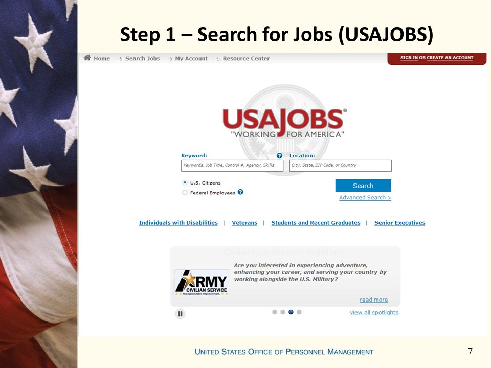 Step 1 – Search for Jobs (USAJOBS) 7