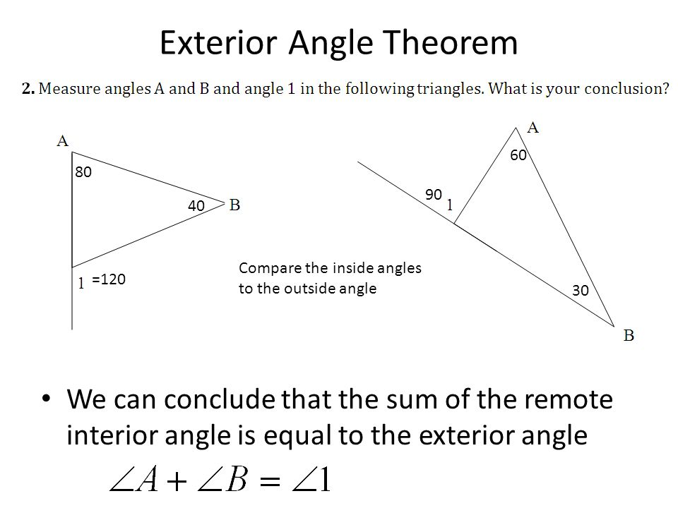 Printable Worksheets triangle sum theorem worksheets : Worksheet Triangle Sum And Exterior Angle Theorem - Checks Worksheet