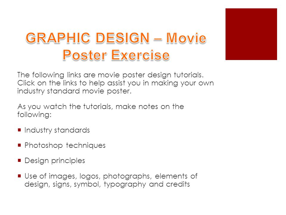 The Following Links Are Movie Poster Design Tutorials