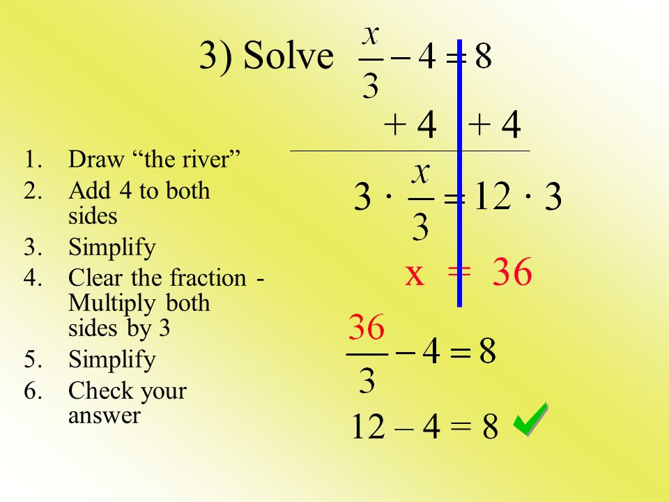 · · 3 x = – 4 = 8 3) Solve 1.Draw the river 2.Add 4 to both sides 3.Simplify 4.Clear the fraction - Multiply both sides by 3 5.Simplify 6.Check your answer