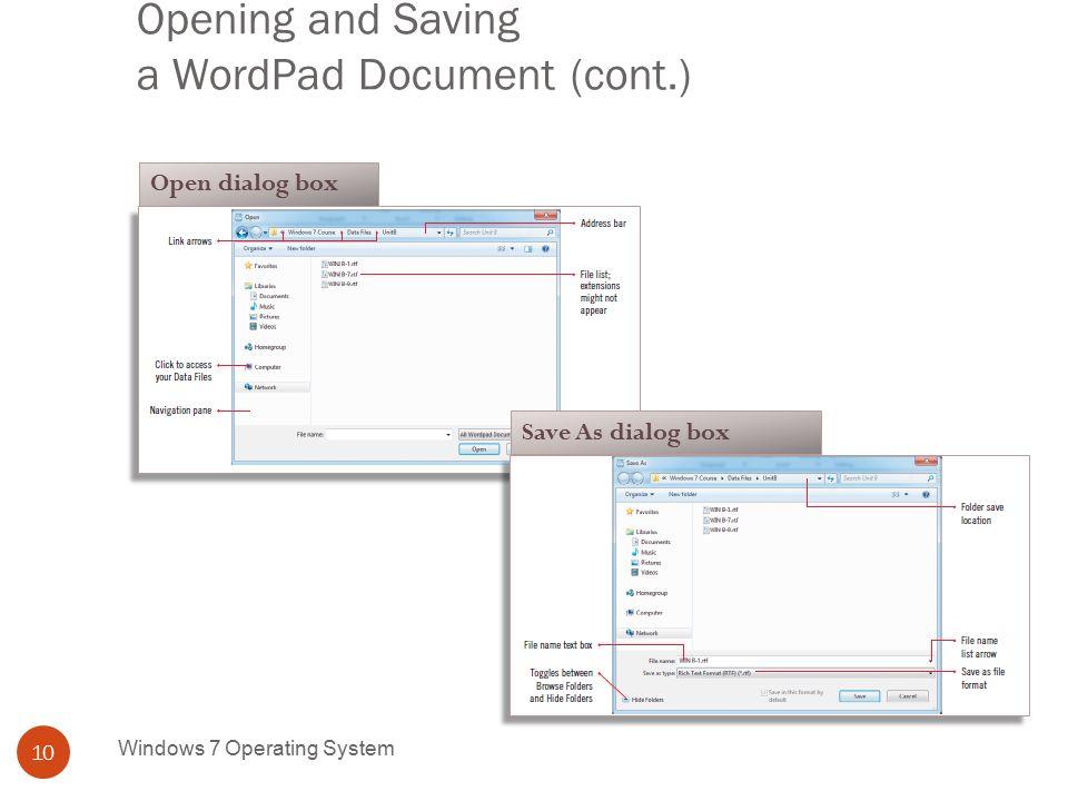 usingwindows programs including wordpad and paint windows 7