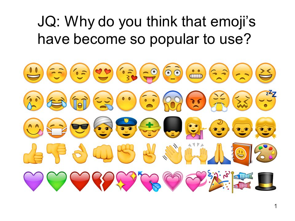 1 JQ: Why do you think that emoji's have become so popular to use