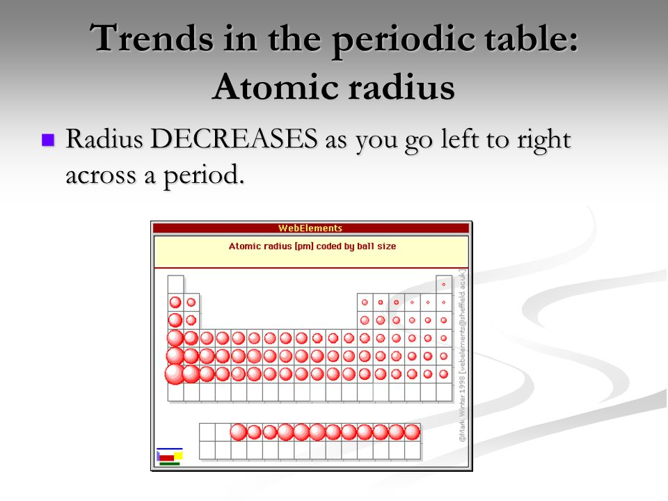 Periodic trends the physical and chemical properties of the elements 3 trends in the periodic table atomic radius radius decreases as you go urtaz Images