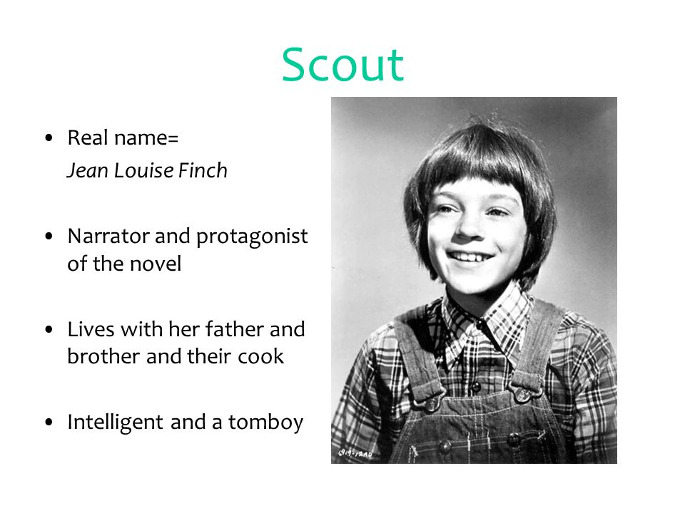 2 Scout Real Name Jean Louise Finch Narrator And Protagonist Of The Novel Lives With Her Father Brother Their Cook Intelligent A Tomboy
