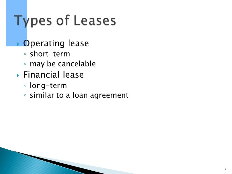 Project On Lease Financing A Lease Is A Rental Agreement That