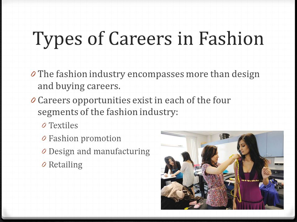Fashion A Standard 6 Fashion Careers Objectives 0 Students Will Understand Different Types Of Career Opportunities In The Fashion Industry 0 Objective Ppt Download