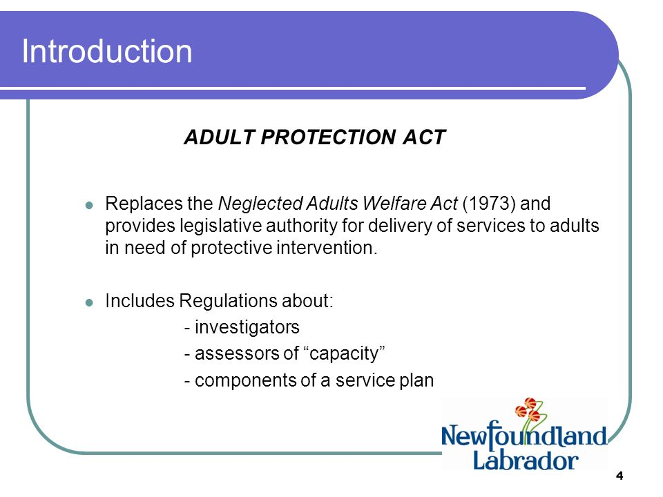 ADULT PROTECTION ACT INFORMATION SESSION. Introduction ADULT ...