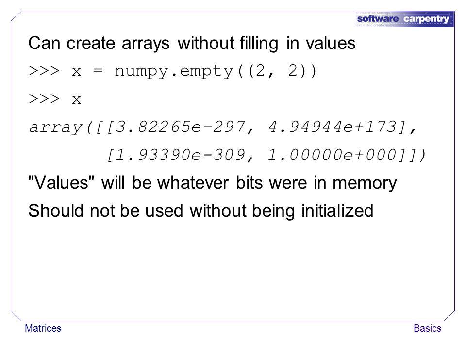 Numpy Empty Matrix