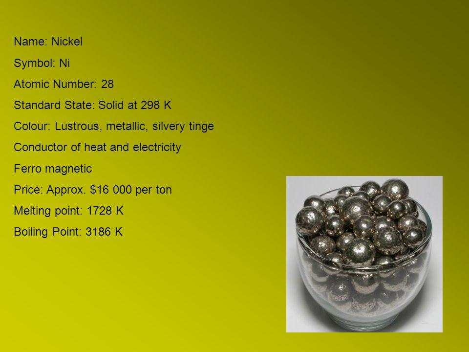 Name Nickel Symbol Ni Atomic Number 28 Standard State Solid At 298