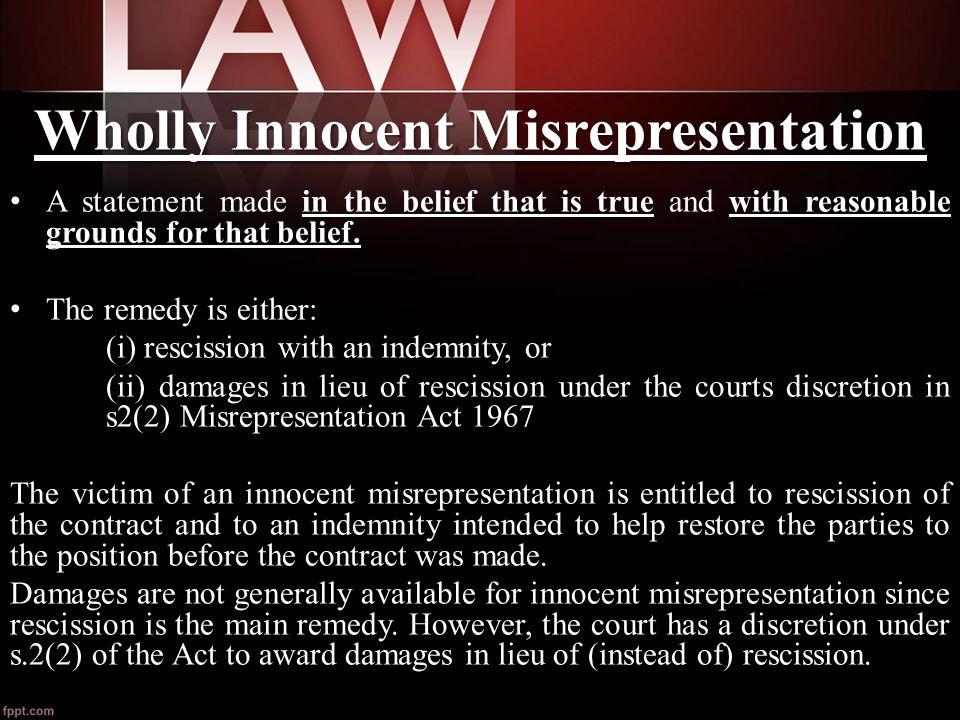 wholly innocent misrepresentation