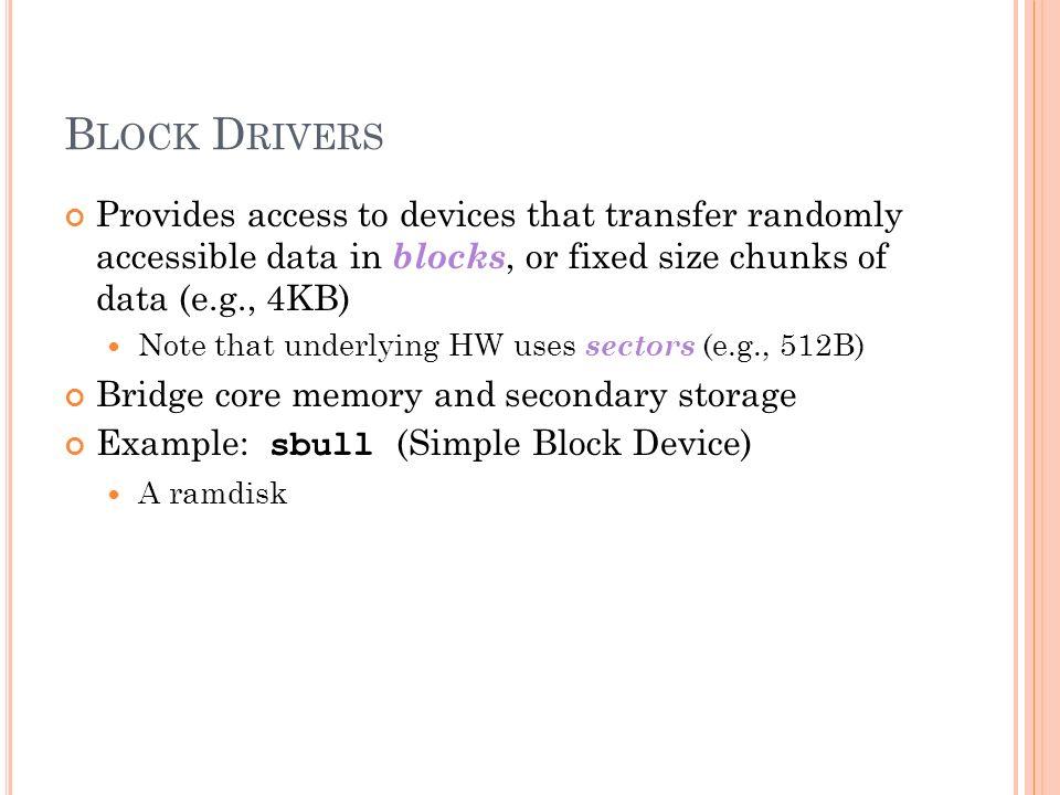 B LOCK L AYER S UBSYSTEM Linux Kernel Programming CIS 4930