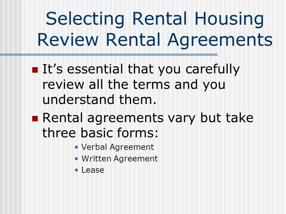 Chapter 10 Renting A Home Selecting Rental Housing Tenant Rights And