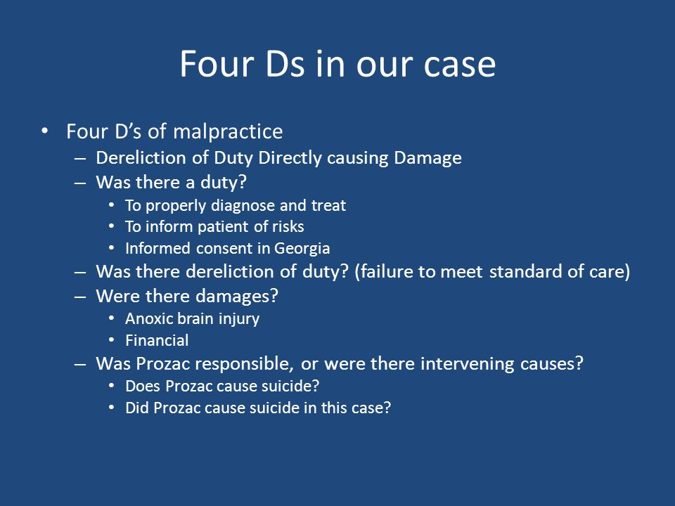 what are the four ds of negligence