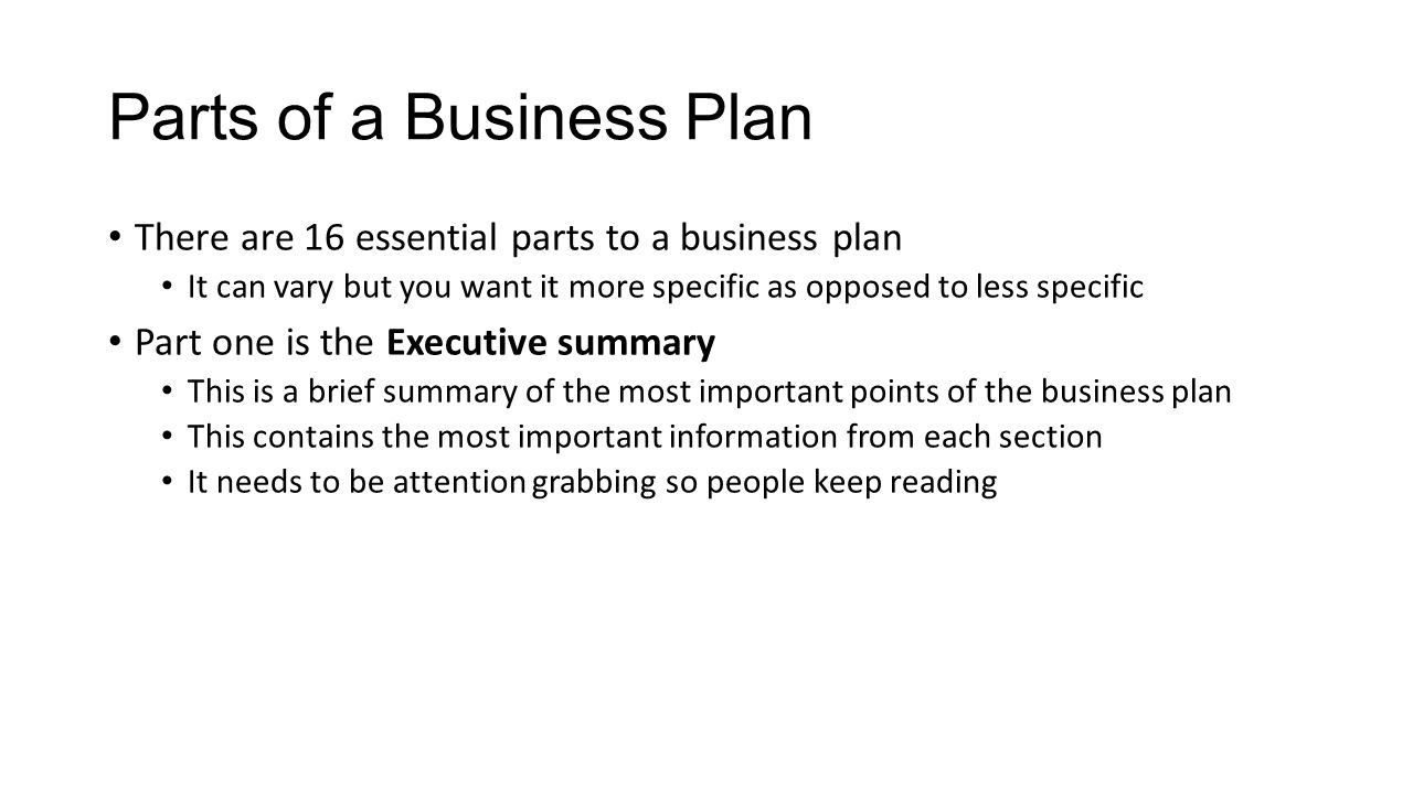 parts of a business plan there are 16 essential parts to a business