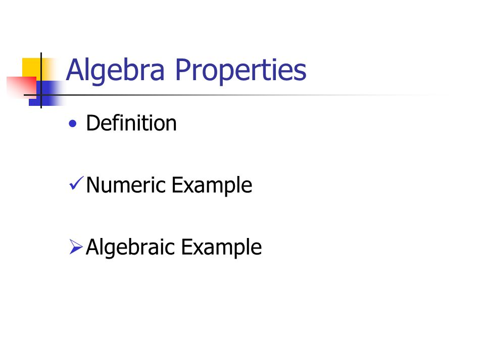 Algebra Properties Definition Numeric Example  Algebraic Example