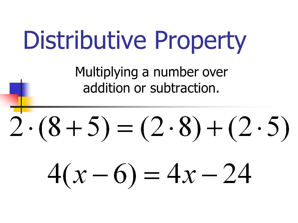 Distributive Property Multiplying a number over addition or subtraction.
