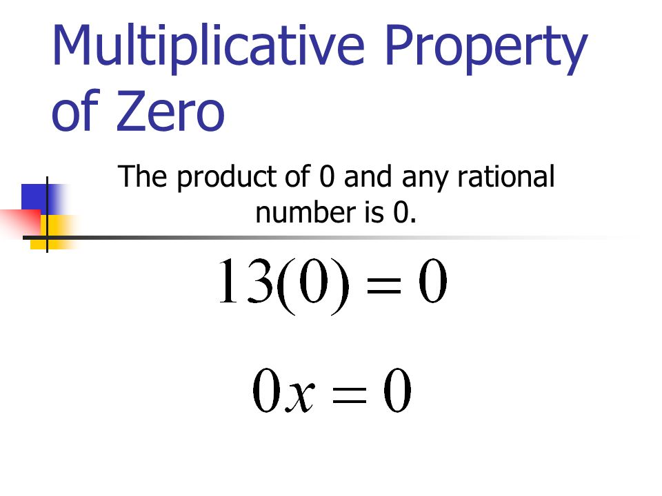 Multiplicative Property of Zero The product of 0 and any rational number is 0.
