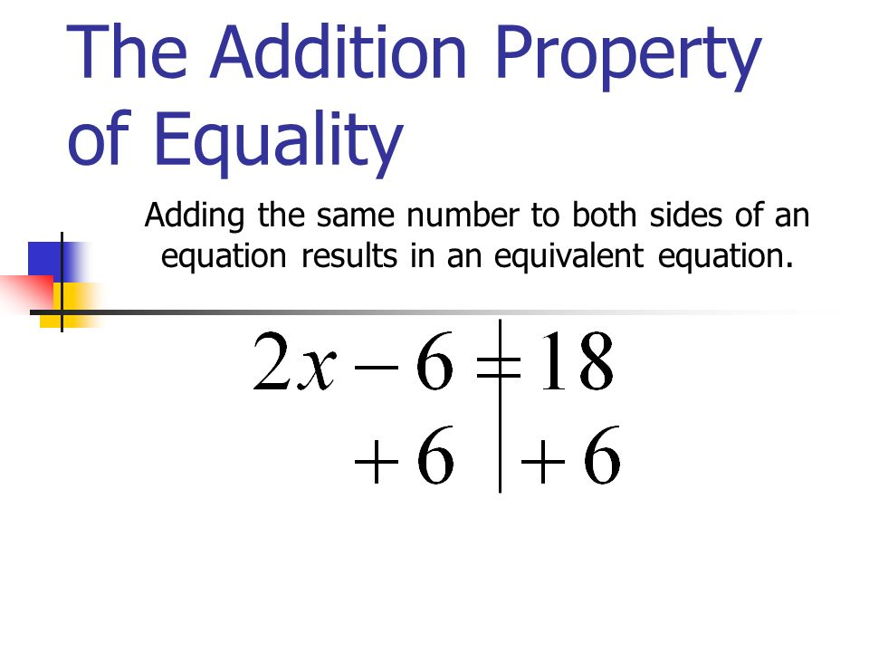 The Addition Property of Equality Adding the same number to both sides of an equation results in an equivalent equation.