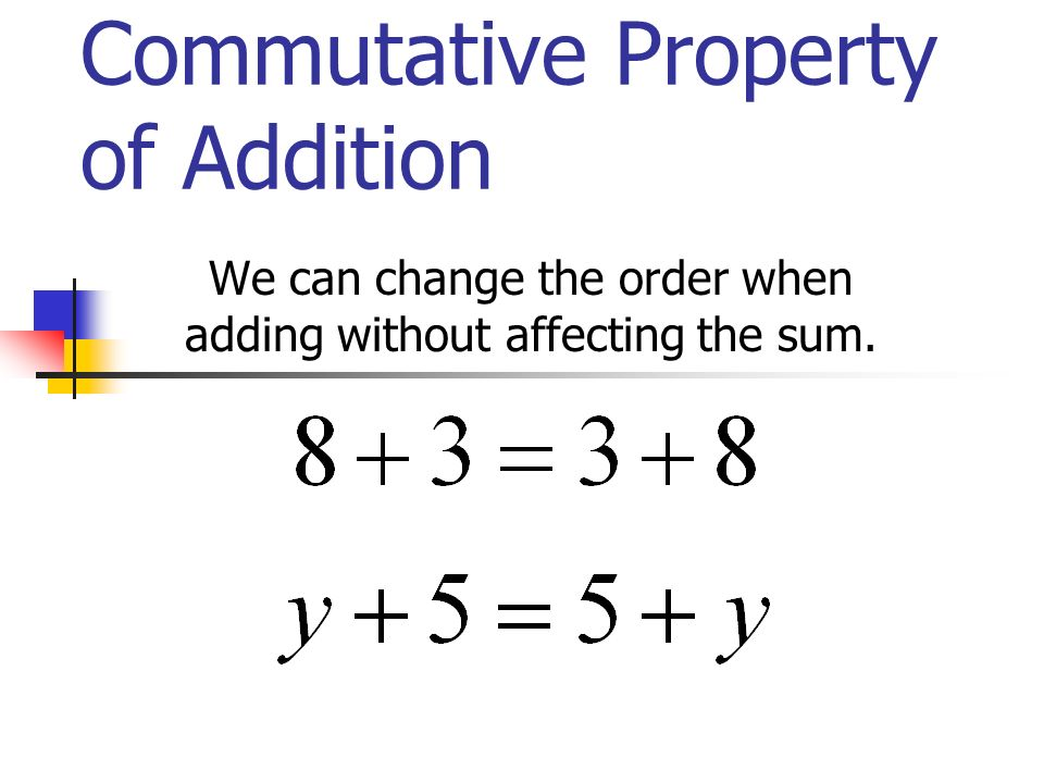 Commutative Property of Addition We can change the order when adding without affecting the sum.