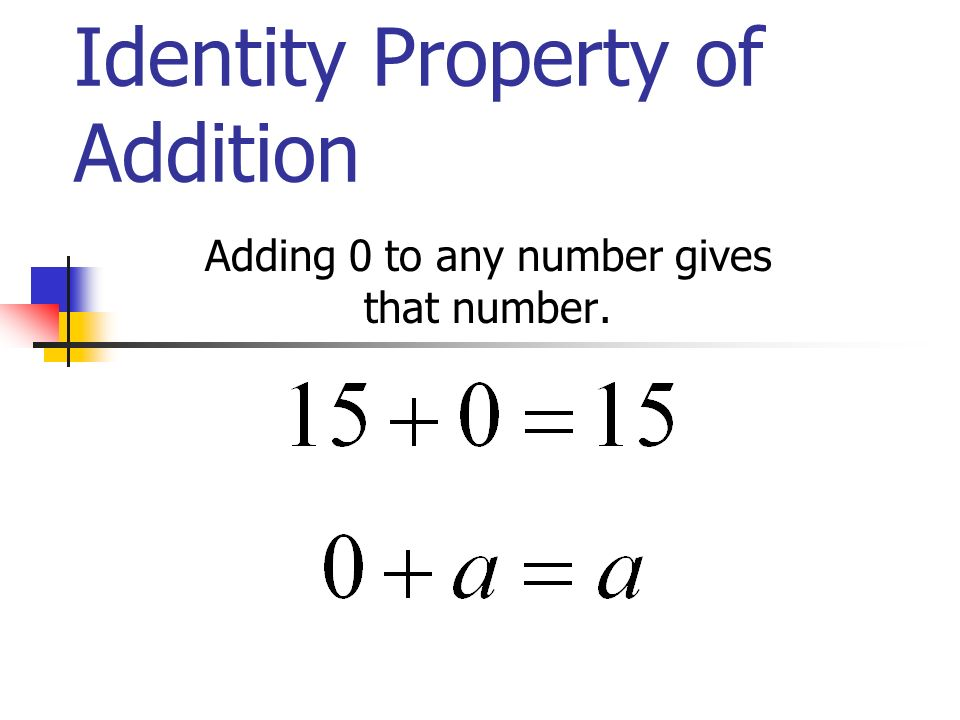 Identity Property of Addition Adding 0 to any number gives that number.
