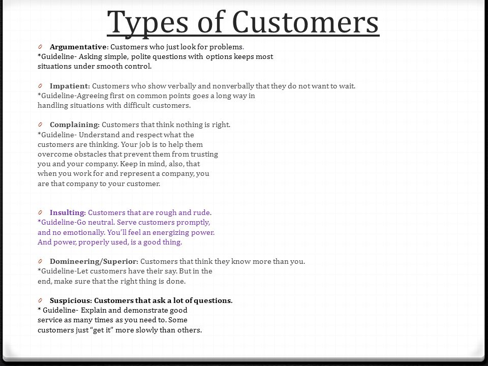 types of customers in customer service