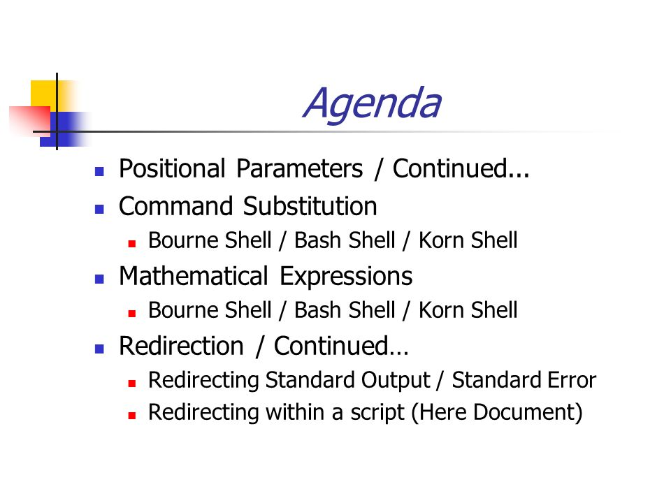 Agenda Positional Parameters / Continued    Command Substitution