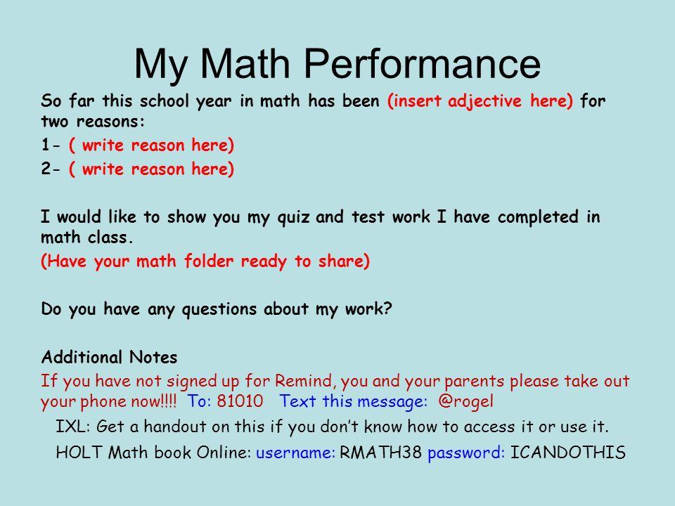 Trimester 1 Reflection Portfolio Student Name. Math Math Classes 1st ...