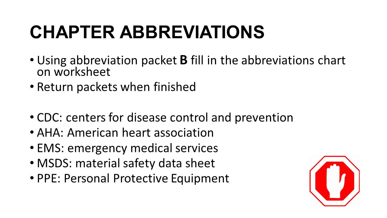 1 st aid cpr aed chapter abbreviations using abbreviation packet b