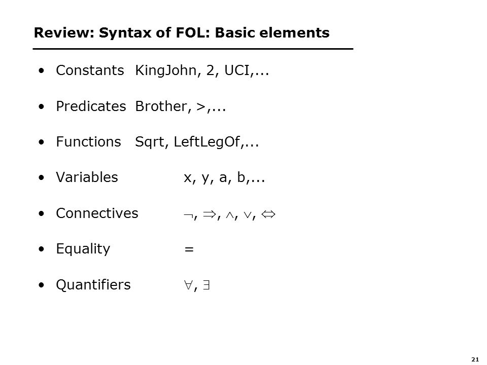 21 Review: Syntax of FOL: Basic elements ConstantsKingJohn, 2, UCI,...