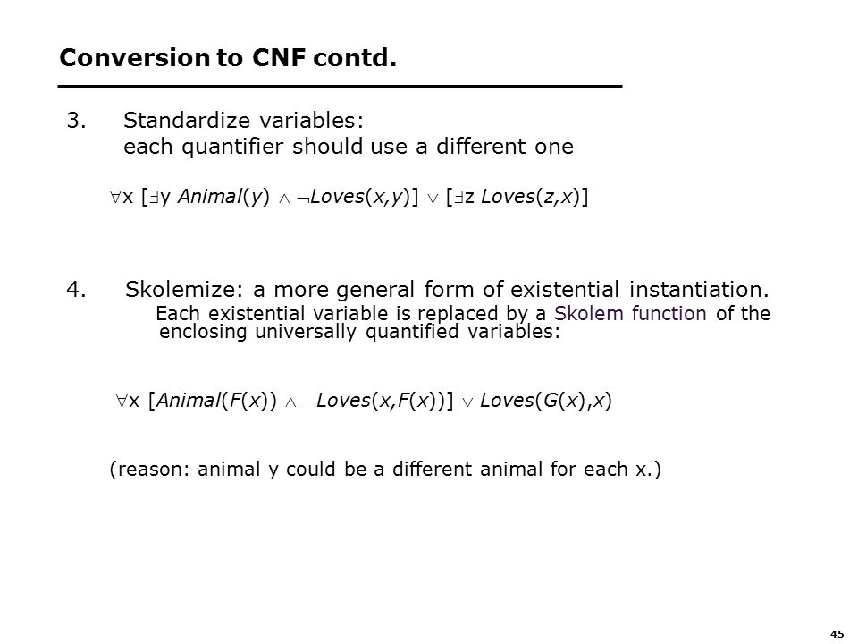45 Conversion to CNF contd.