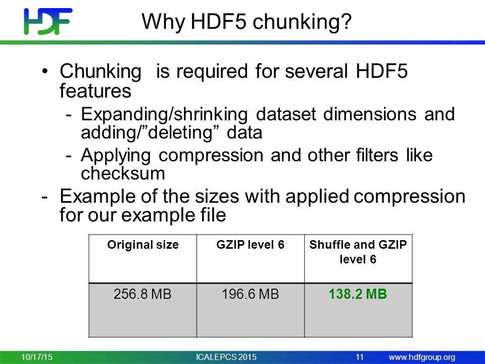 The HDF Group HDF5 Chunking and Compression Performance tuning 10/17