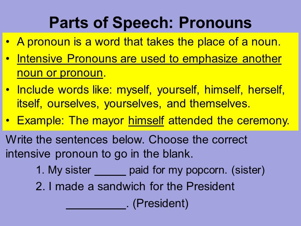 Parts Of Speech Pronouns A Pronoun Is A Word That Takes The Place