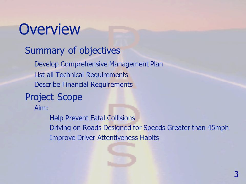Driver attentiveness detection system dads p roject plan project 3 overview summary of objectives develop comprehensive management plan fandeluxe Images