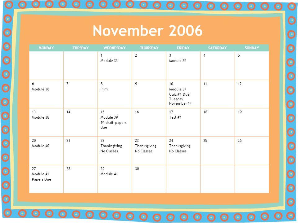 Psy 200 Principles Of Psychology Fall 2006 Calendar Ppt Download