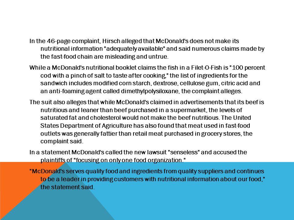 mcdonalds obesity lawsuit timeline
