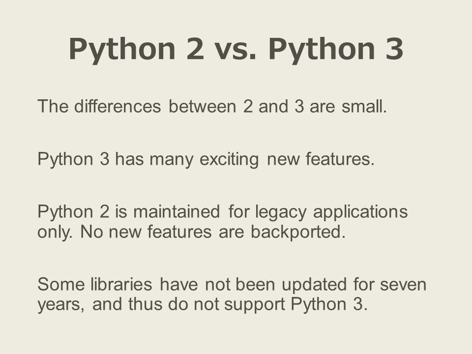Installation Not just Python, but the scientific stack as well