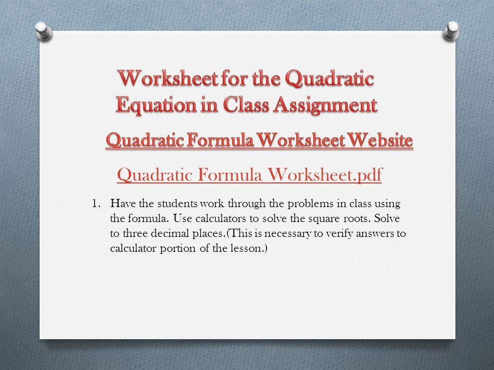 This Formula Finds The Solution S For X In Any Quadratic Equation