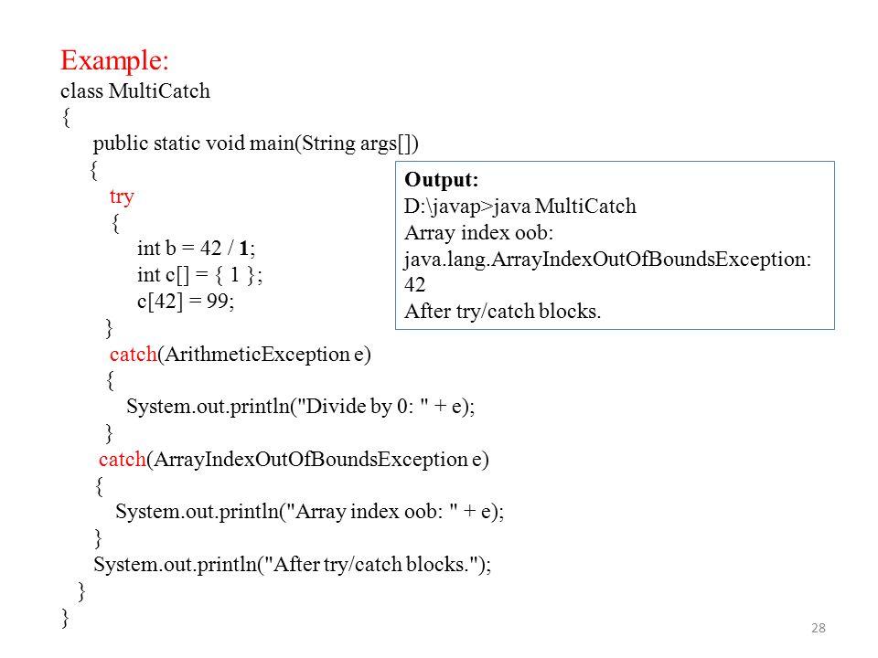 Java exception handling.