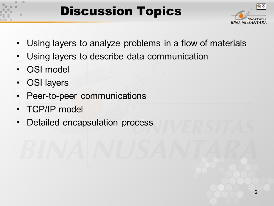 1 Pertemuan 5 Networking Models  Discussion Topics Using