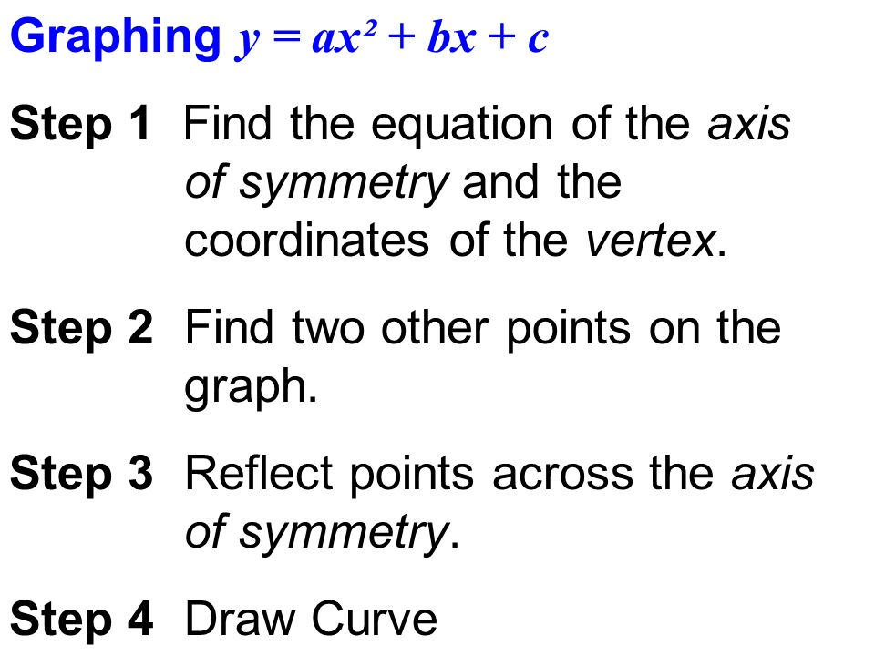 Graphing y = ax² + bx + c Step 1 Find the equation of the axis of symmetry and the coordinates of the vertex.