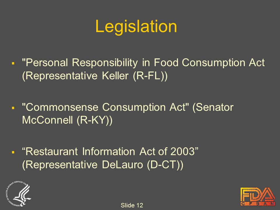 Slide 12 Legislation  Personal Responsibility in Food Consumption Act (Representative Keller (R-FL))  Commonsense Consumption Act (Senator McConnell (R-KY))  Restaurant Information Act of 2003 (Representative DeLauro (D-CT))