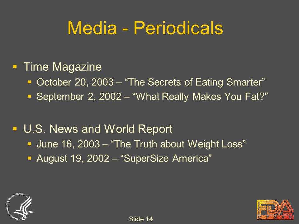 Slide 14 Media - Periodicals  Time Magazine  October 20, 2003 – The Secrets of Eating Smarter  September 2, 2002 – What Really Makes You Fat  U.S.