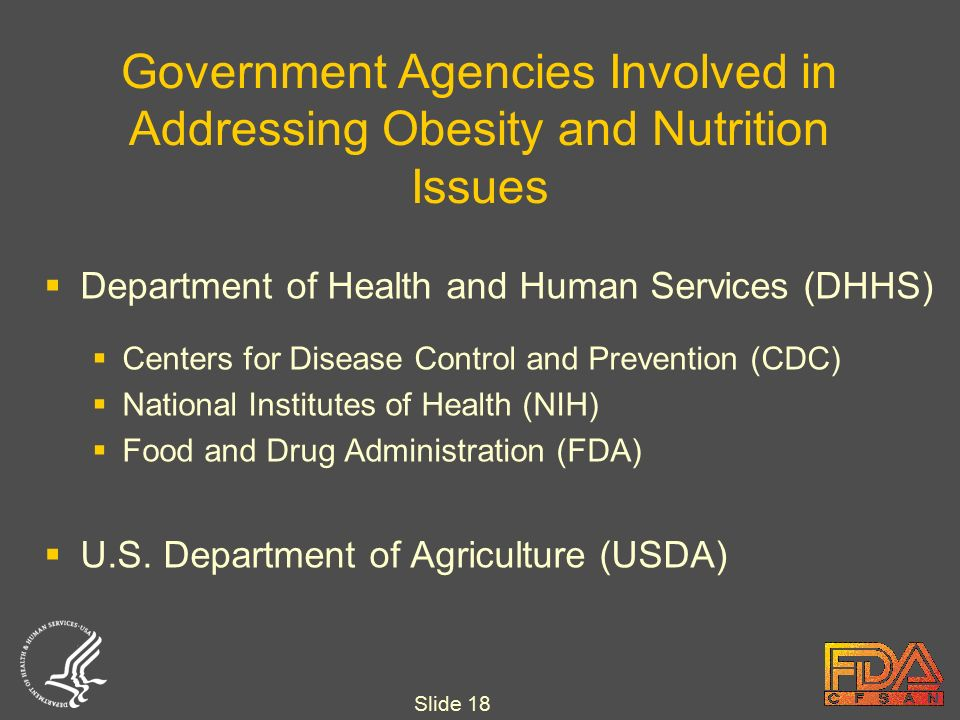Slide 18 Government Agencies Involved in Addressing Obesity and Nutrition Issues  Department of Health and Human Services (DHHS)  Centers for Disease Control and Prevention (CDC)  National Institutes of Health (NIH)  Food and Drug Administration (FDA)  U.S.