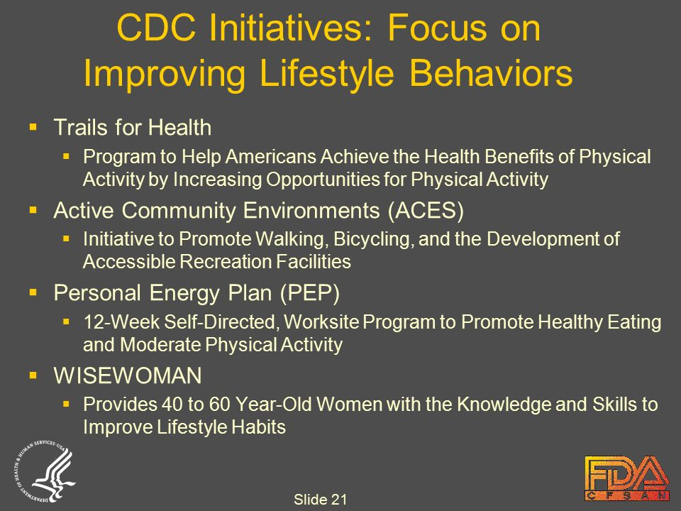 Slide 21 CDC Initiatives: Focus on Improving Lifestyle Behaviors  Trails for Health  Program to Help Americans Achieve the Health Benefits of Physical Activity by Increasing Opportunities for Physical Activity  Active Community Environments (ACES)  Initiative to Promote Walking, Bicycling, and the Development of Accessible Recreation Facilities  Personal Energy Plan (PEP)  12-Week Self-Directed, Worksite Program to Promote Healthy Eating and Moderate Physical Activity  WISEWOMAN  Provides 40 to 60 Year-Old Women with the Knowledge and Skills to Improve Lifestyle Habits